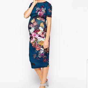 ASOS Maternity blue floral scuba mididress 12 NWT